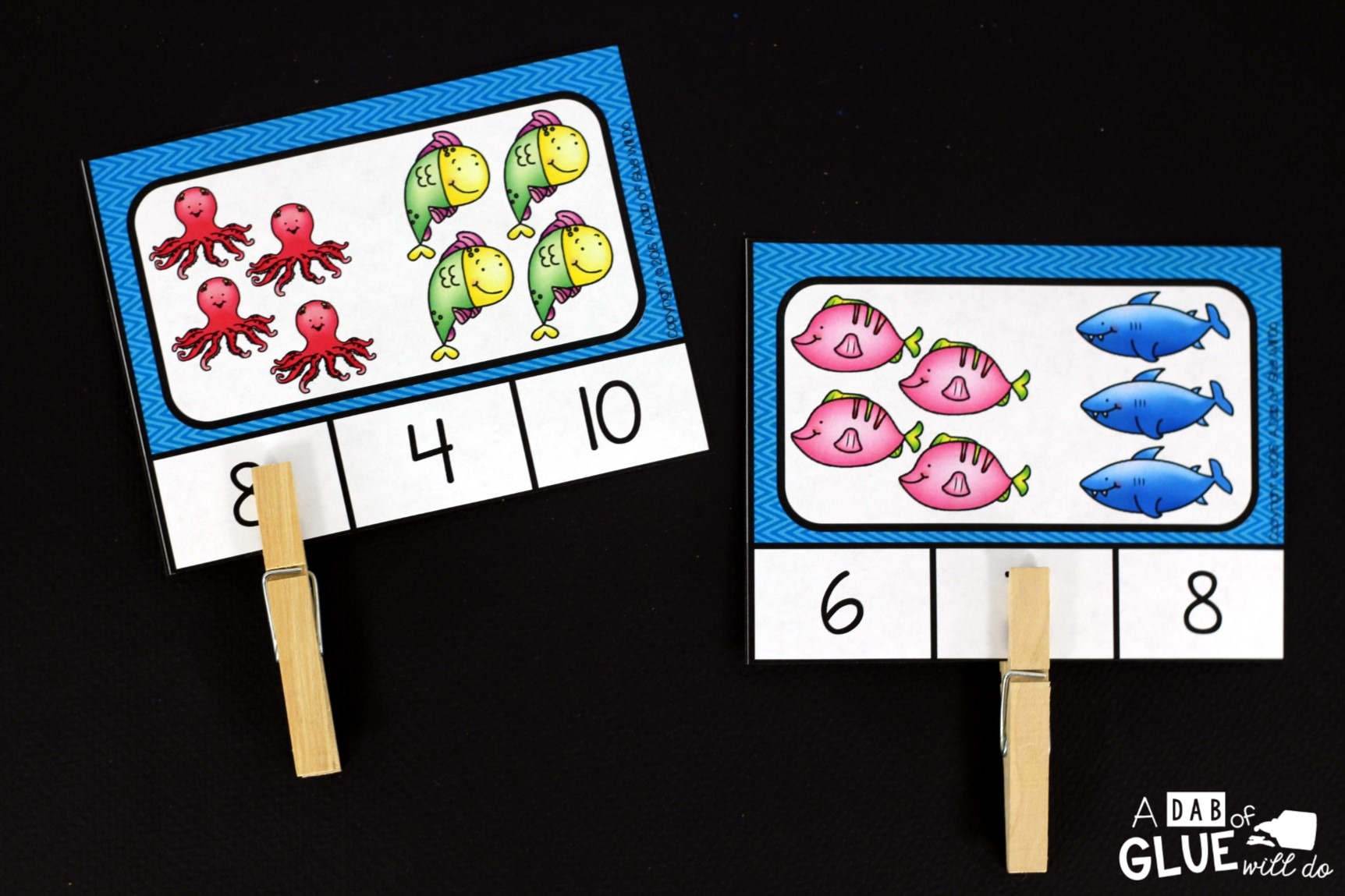 Clip Cards are ideal for Counting Review! This Free Printable Ocean Count & Clip Set is ideal for your classroom or at home review! Print these clip cards!