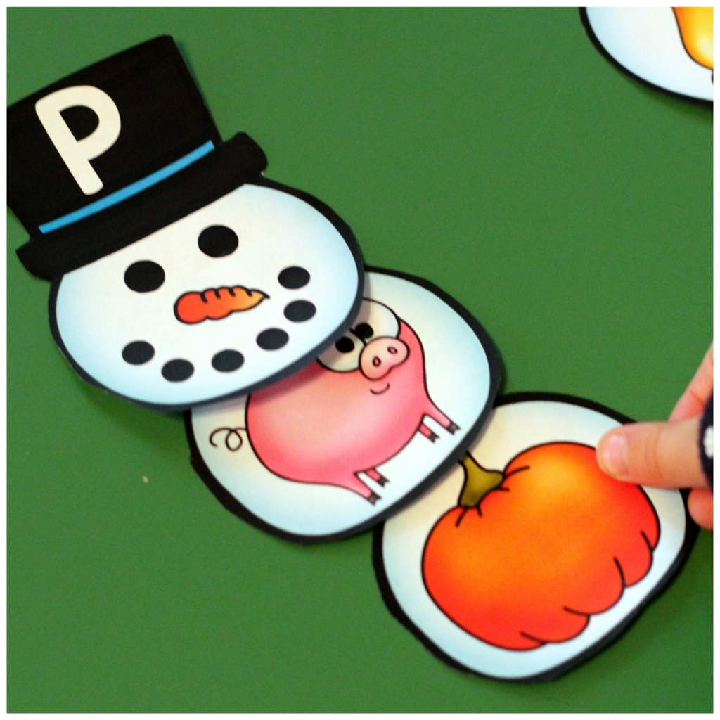 Snowman Initial Sound and Number Match-Up - A Dab of Glue Will Do
