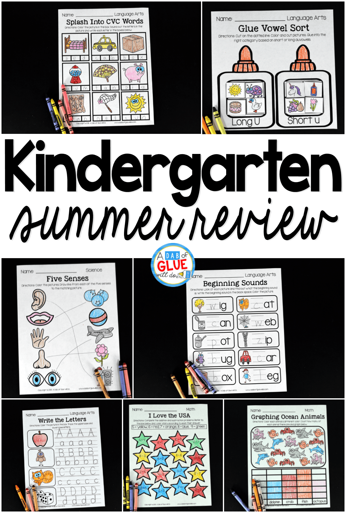 This product is perfect for students going into First Grade to help prevent the summer slide. Simply print, staple, and send home with your students. There are 43 pages of language arts, 29 pages of math activities, 15 pages of science, and 6 pages of social studies.