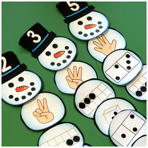 Snowman Number Match-Up - A Dab of Glue Will Do