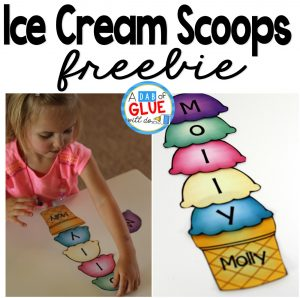 The Name Game Activity Ice Cream Scoops Freebie
