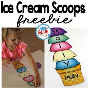 The Name Game Activity Ice Cream Scoops Freebie