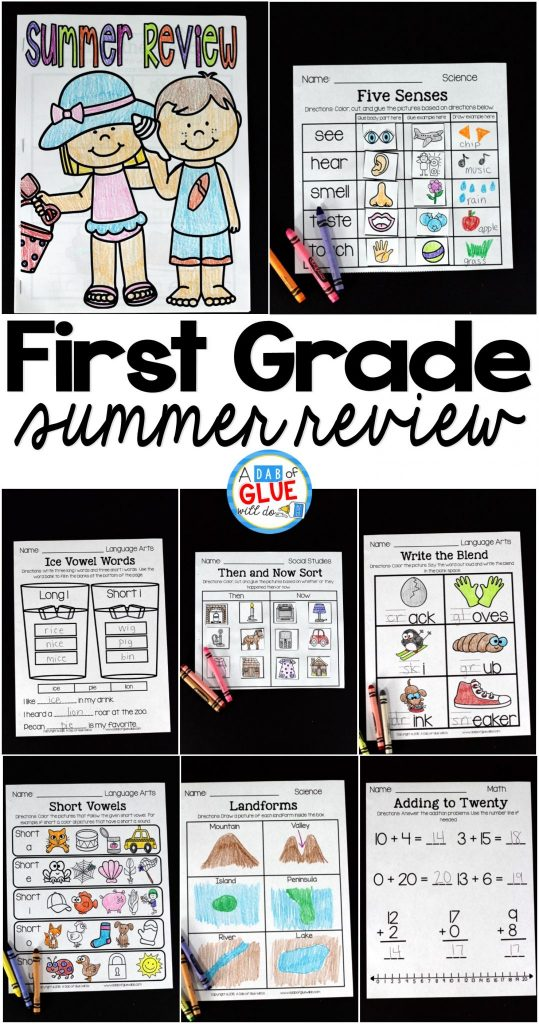 The perfect NO PREP First Grade Summer Review to help your students with hands-on learning over summer break! Give your students going into Second Grade fun review printables to help prevent the summer slide and set them up for Second Grade success. This review is packed full of engaging homework review activities that will bring a smile to their sweet faces as they work on math, language arts, social studies, and science! Parents will enjoy the student's focus on summer homework and Second Grade teachers will LOVE their new students ready for Second Grade work.