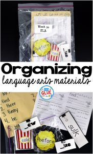 This is what I found to work best for me to organize language arts materials and I hope that you can take something from it to help you better organize your materials.