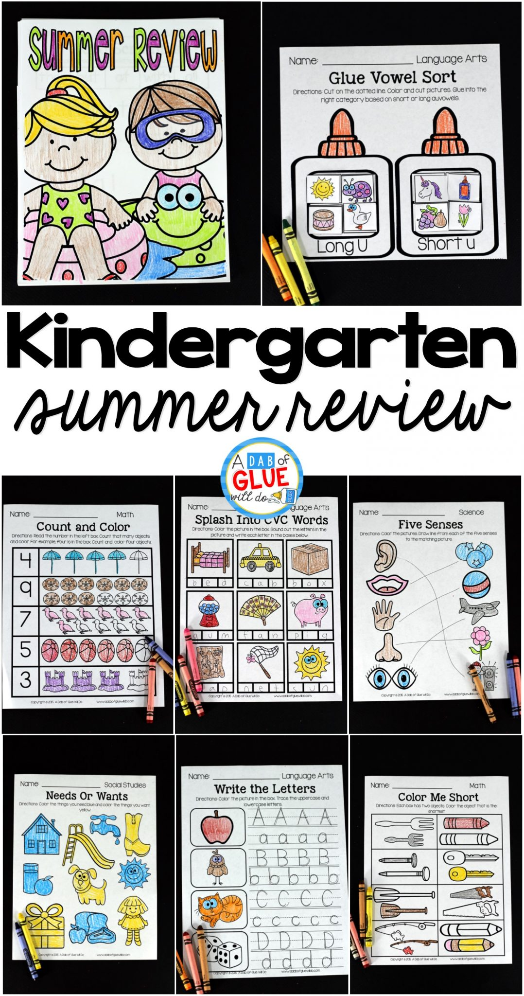 No Prep Kindergarten Summer Review Packet