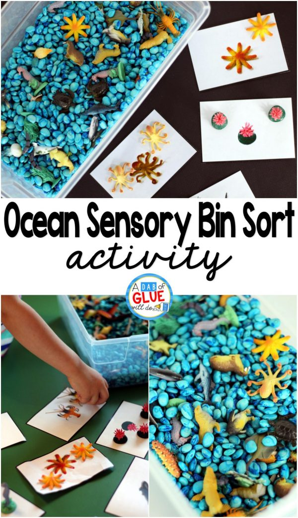 Ocean Sensory Bin Sorting is a perfect way to teach children about ocean animals and sorting in a fun and hands-on way.