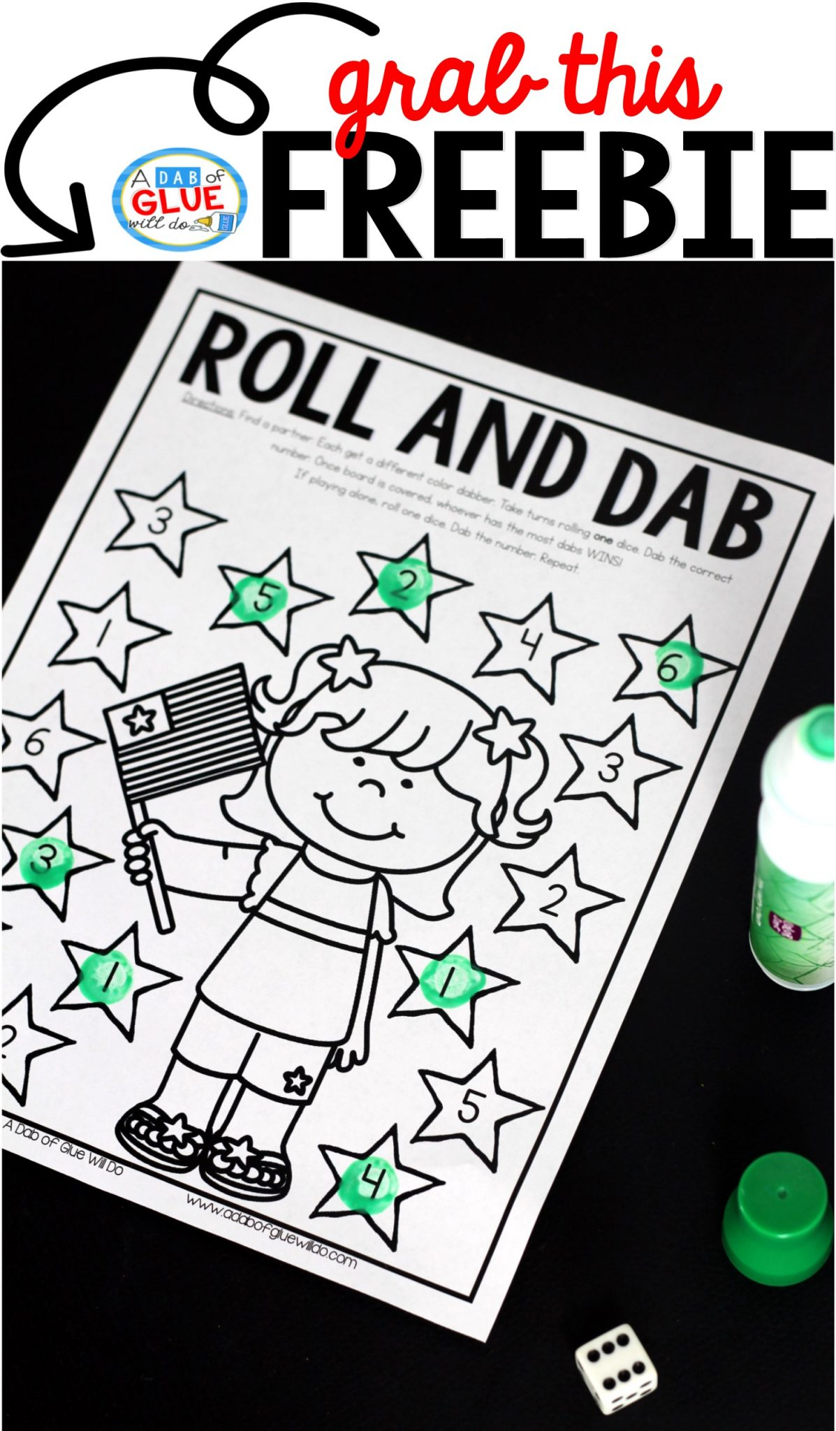 Patriotic Roll and Dab is a fun and engaging activity for students to practice their math skills. There are three levels to allow for a variety of ages or skill levels.