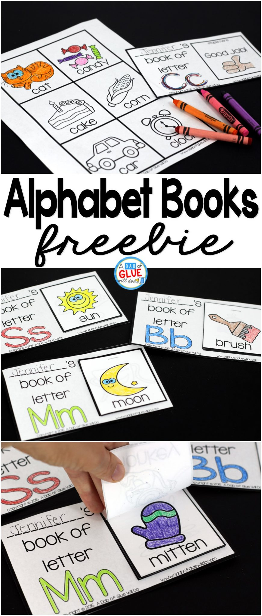 graphic relating to Free Printable Alphabet Books called Alphabet Transform Textbooks - A Dab of Glue Will Do