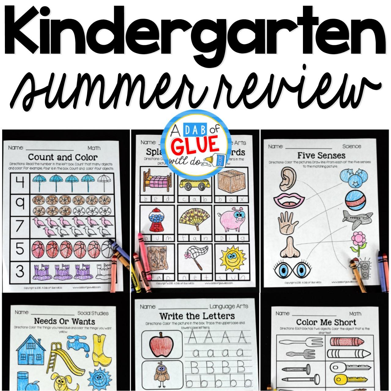No Prep Kindergarten Summer Review Packet