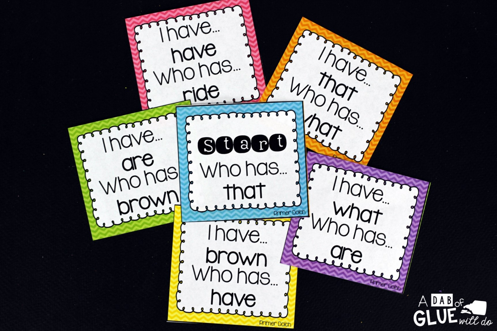 I Have, Who Has Print on cardstock and laminate for extra durability. This way you can reuse for years to come. Pass out all of the cards to your students. Some students may end up with more than one card. Choose one student to start by reading the start card (labeled start). The student with the answer at the top of their card should read their entire card. The activity continues until you get to the finished card (labeled finish).