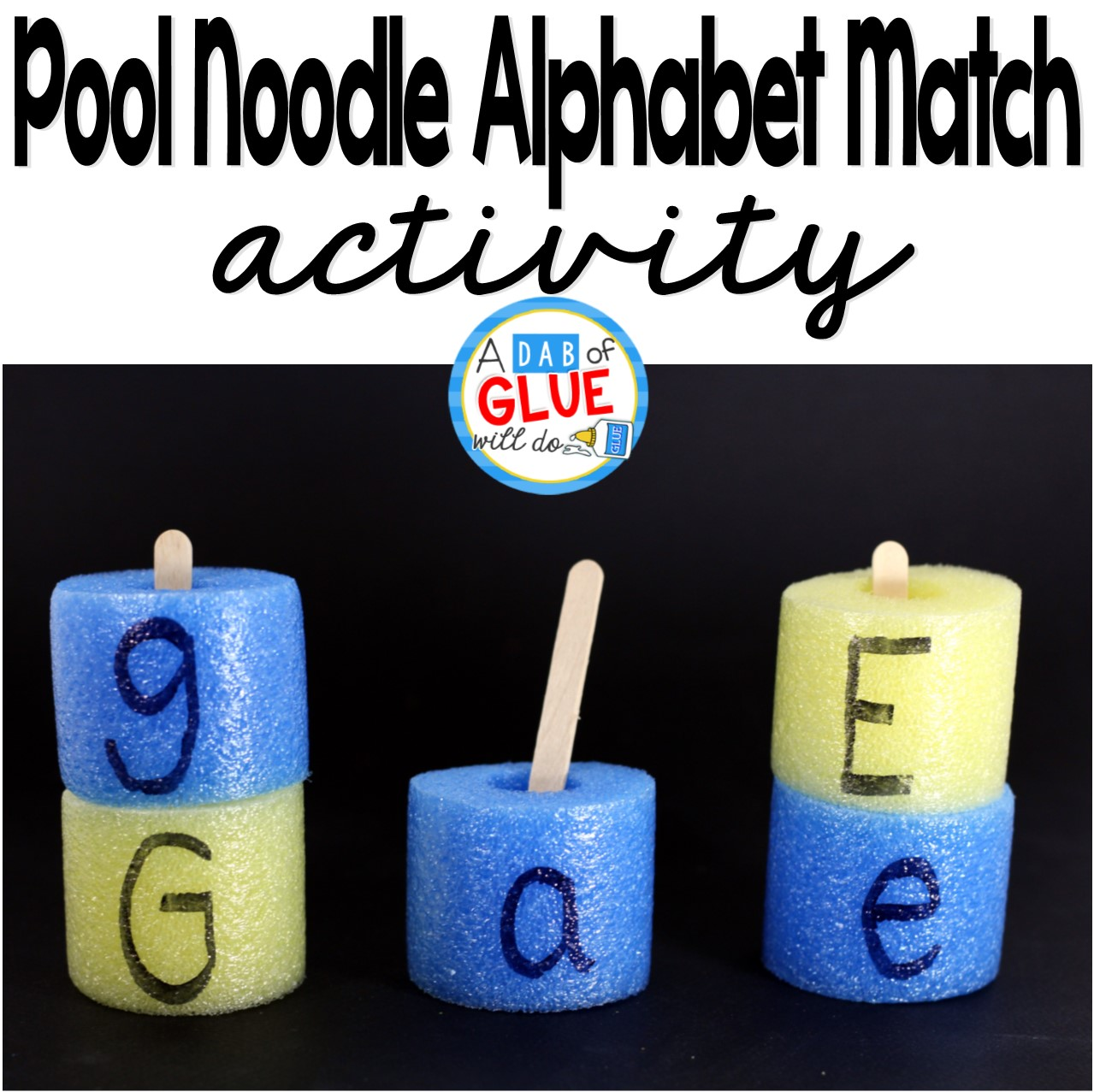 Summertime is almost over, which means pool noodles will be on SALE everywhere so why not go grab a few for cheap and use them for an educational purpose?! We have been working on letters the last few weeks before my oldest heads off to preschool and I thought the pool noodle alphabet match would be a great way for her to practice matching uppercase and lowercase letters.
