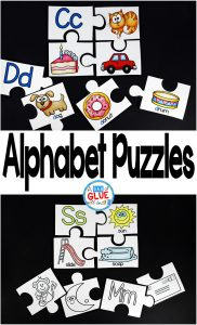 Help your preschoolers learn their ABCs with Alphabet Puzzles! Use in your homeschool, Kindergarten, or First Grade classrooms. Color and black and white versions included! Review beginning sounds using version one of alphabet puzzle with the word accompanying the picture. Then move students to version two which requires students to use their sounds to put the puzzle pieces back together.