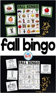 Play Bingo with your elementary age students for a fun fall themed game! Perfect for large groups in your classroom or small review groups. Add this to your fall party with 30 unique fall Bingo boards or end of year celebration with your students! Teaching cards are also included in this fun game for young children! Black and white options available to save your color ink.
