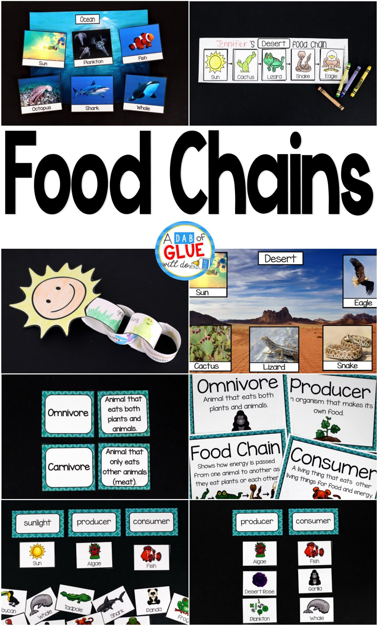 Engage your class in an exciting hands-on experience learning the food chains for six different habitats! Perfect for science centers in Kindergarten, First Grade, and Second Grade classrooms and packed full of inviting science activities. Students will learn about food webs and animal habitats in the Arctic, Pond, Rain Forest, Desert, Ocean, and Grasslands biomes. This pack is great for homeschoolers, kids craft activities, and to add to your unit studies!