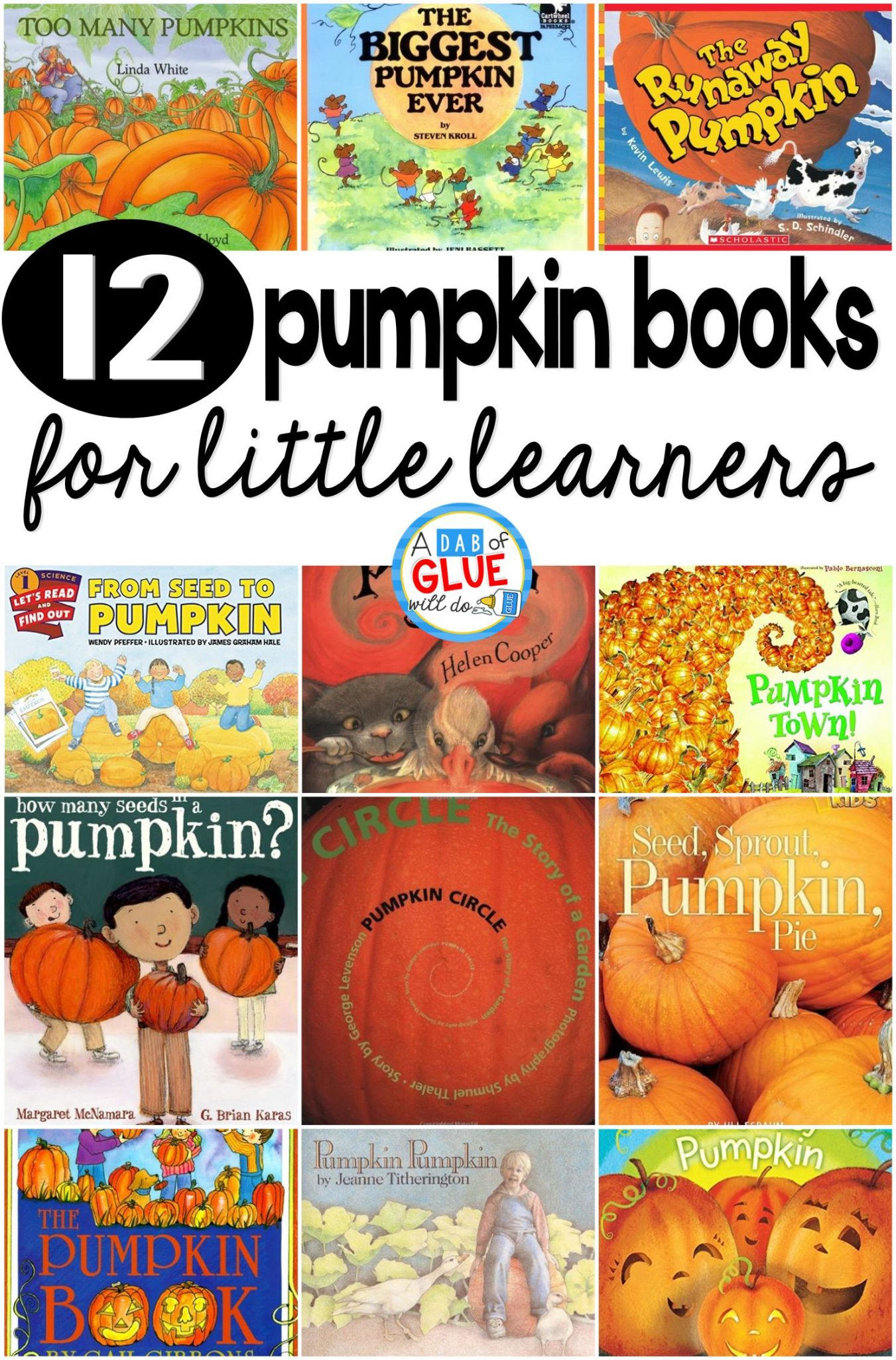 Our 12 favorite pumpkin books are the perfect addition for your fall lesson plans. These are great for preschool, kindergarten, or first grade students.