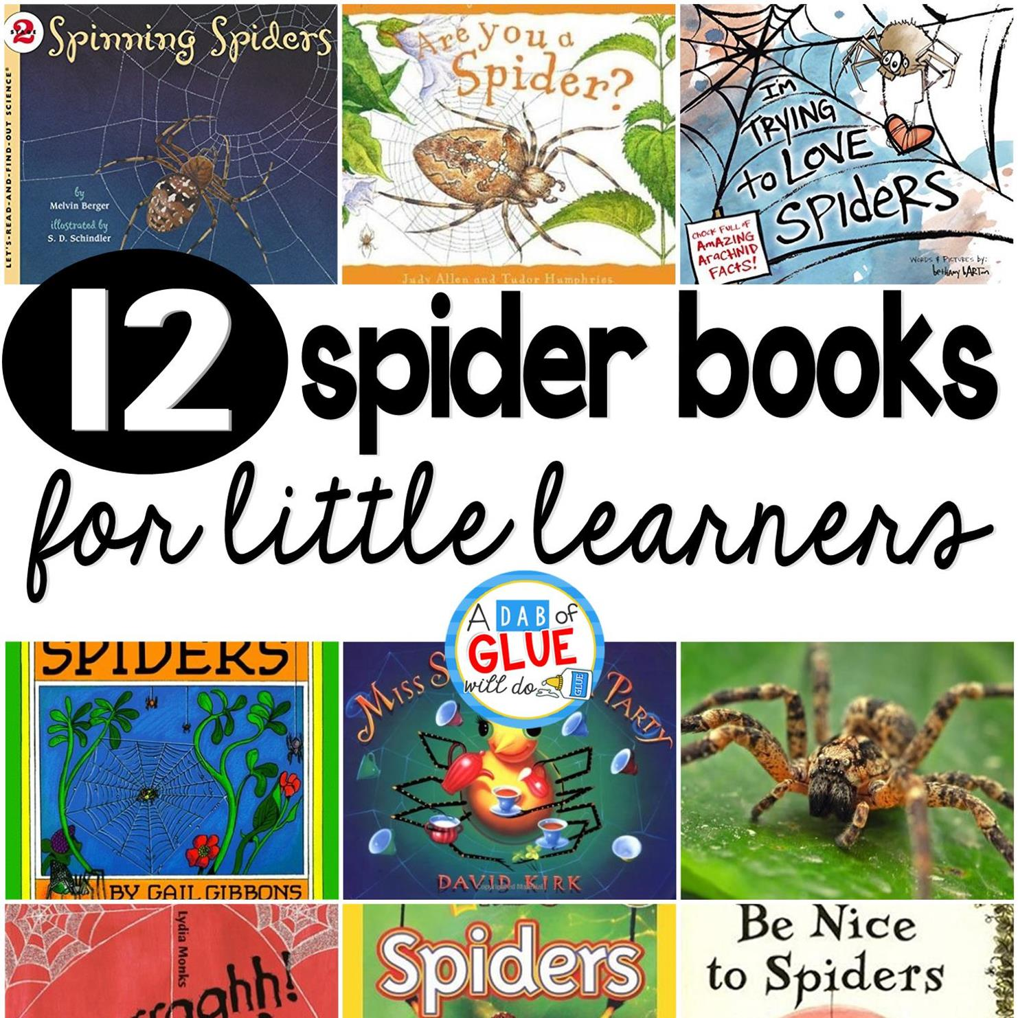 Our 12 favorite spider books are perfect for your Halloween or fall lesson plans. These are great for preschool, kindergarten, or first grade students.spider-books-for-little-learners-square