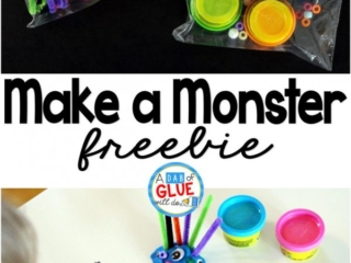 Make a Monster isthe perfect candy-free Halloween gift.This activity is great for toddlers, preschoolers, and kindergarten and first grade students.