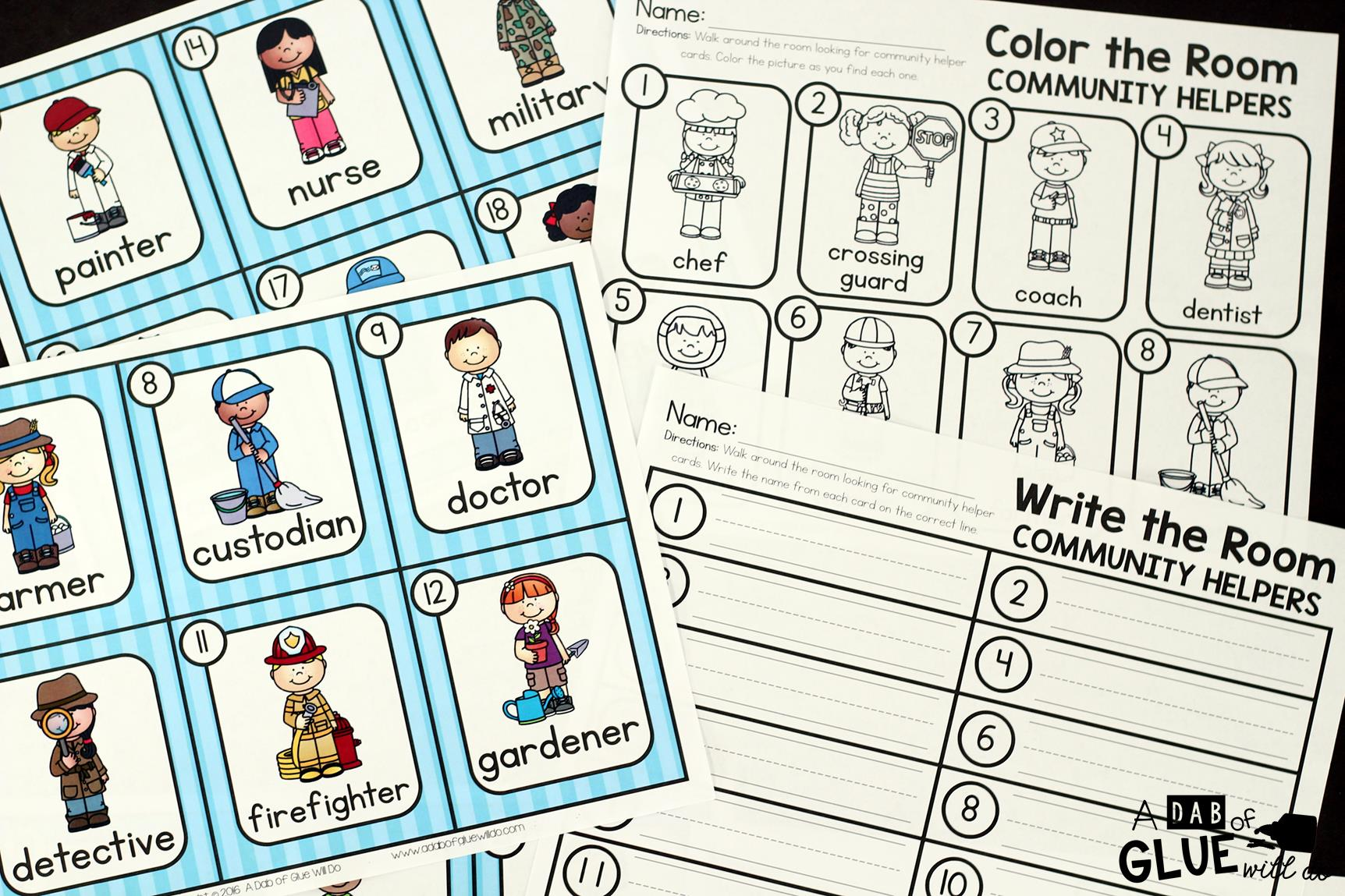 Community Helpers Write and Color the Room -