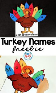 Turkey Names is the perfect fall activity to have preschool and kindergarten students practicing spelling their name. This Thanksgiving printable is editable and free.