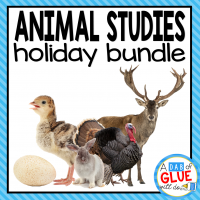 Engage your class in an exciting hands-on experience learning all about holiday animals! Perfect for science in Preschool, Pre-K, Kindergarten, First Grade, and Second Grade classrooms and packed full of inviting science activities. This bundle is the perfect way to combine science with Halloween, Thanksgiving, Christmas, Groundhog Day, and Easter.   Students will learn all about the following holiday animals: bats (Halloween), spiders (Halloween), turkeys (Thanksgiving), reindeer (Christmas), groundhogs (Groundhog Day), chicks (Easter), and rabbits (Easter). This pack is great for homeschoolers, kids craft activities, and to add to your unit studies!
