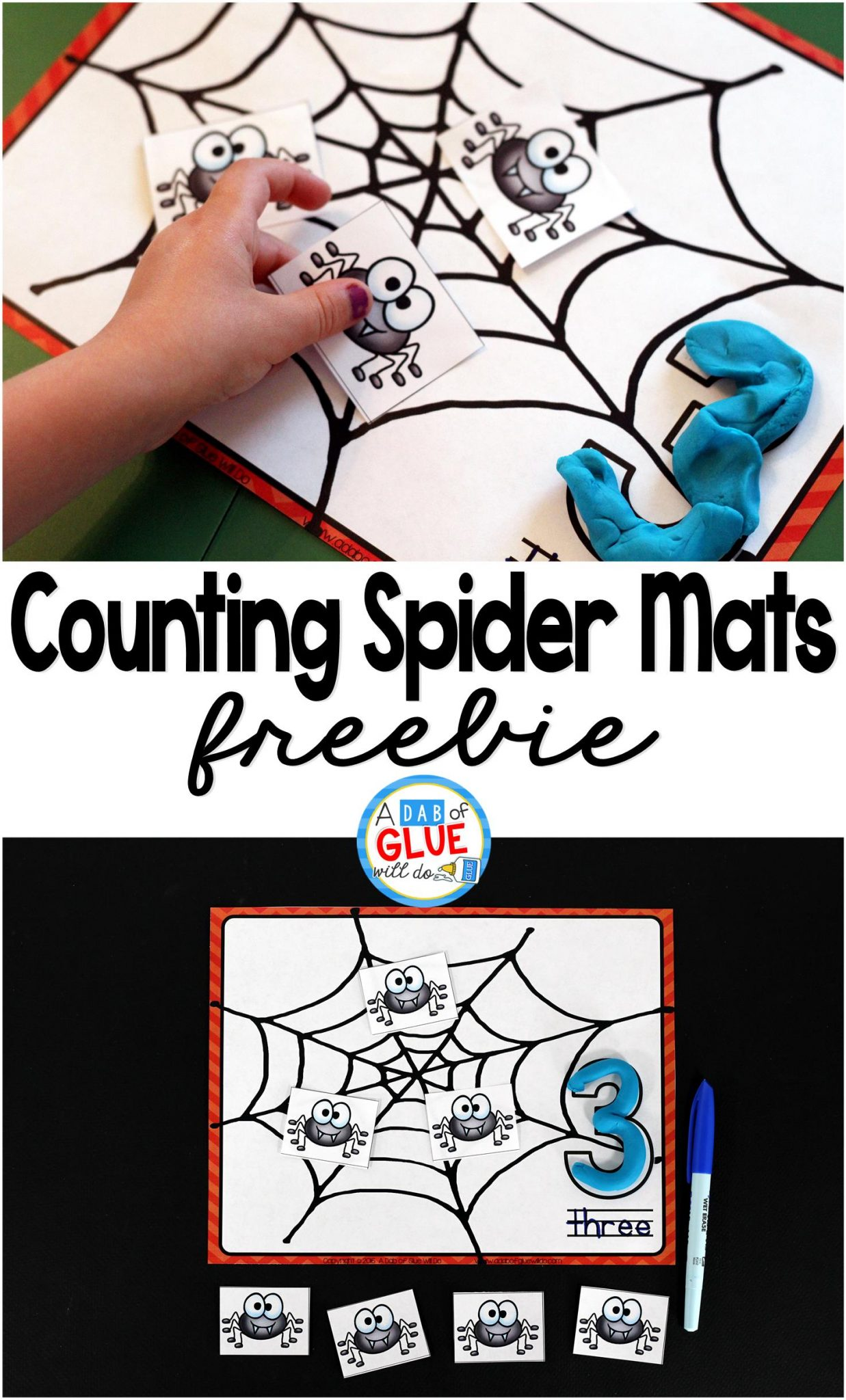Spider Counting Mats is the perfect free printable to be added to your math centers. This activity is perfect for preschool and kindergarten students.