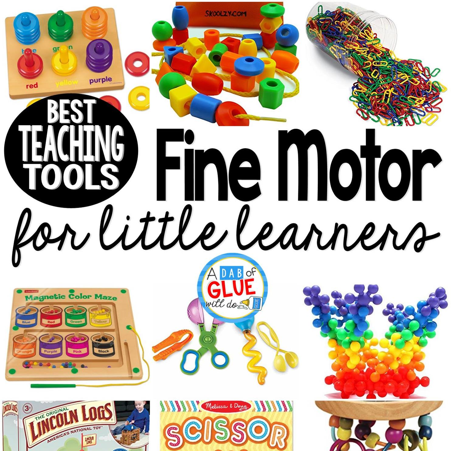 Here are our favorite fine motor toys and tools for teaching little learners.  These are perfect for toddlers, preschool, kindergarten, and first grade students.