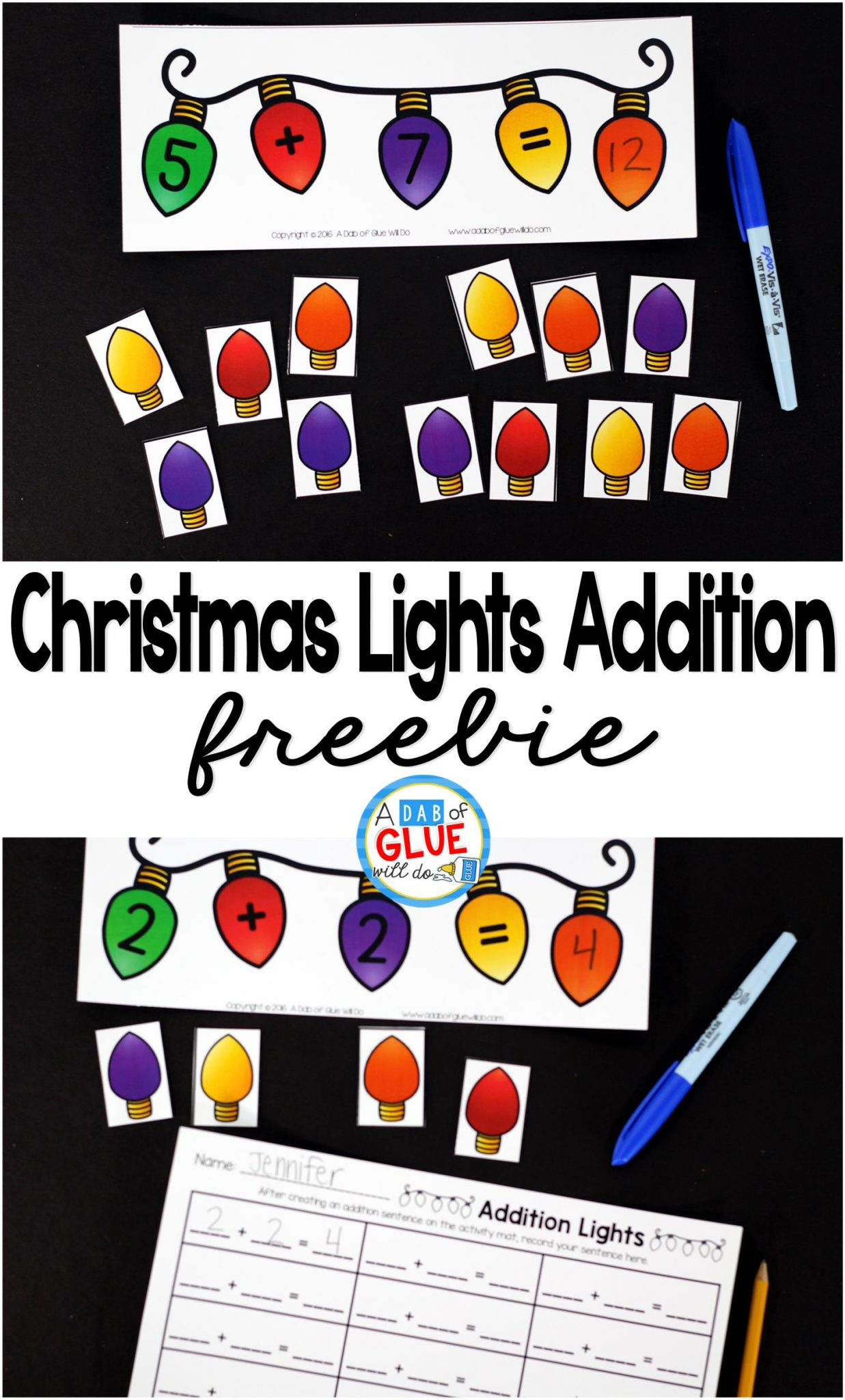 Christmas Lights Addition is the perfect addition to your math center. This free printable is perfect for kindergarten and first grade students.