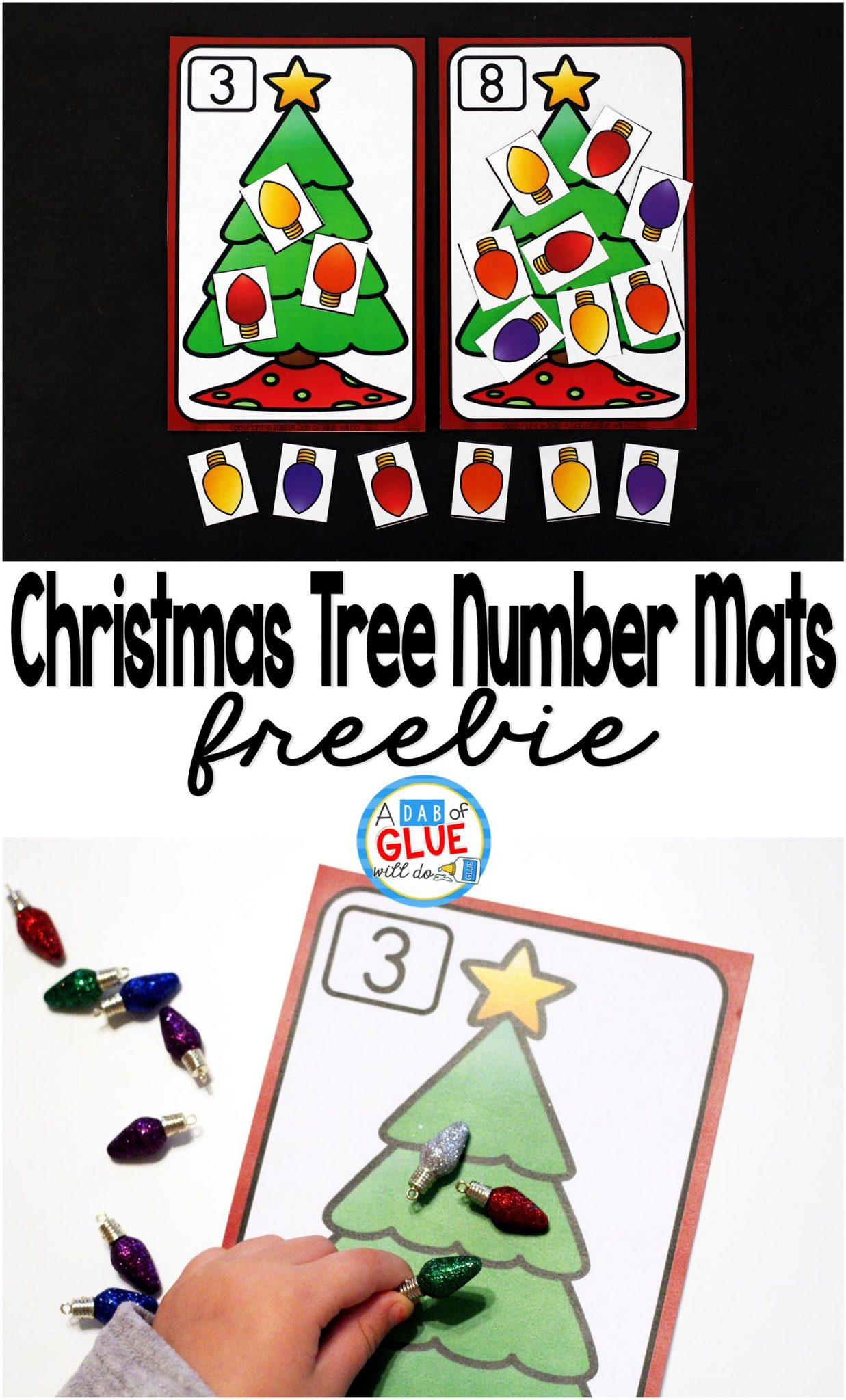 Math Manipulatives like this set of Christmas Tree Number Mats are ideal for holiday learning! These are perfect for review at home or in a classroom!