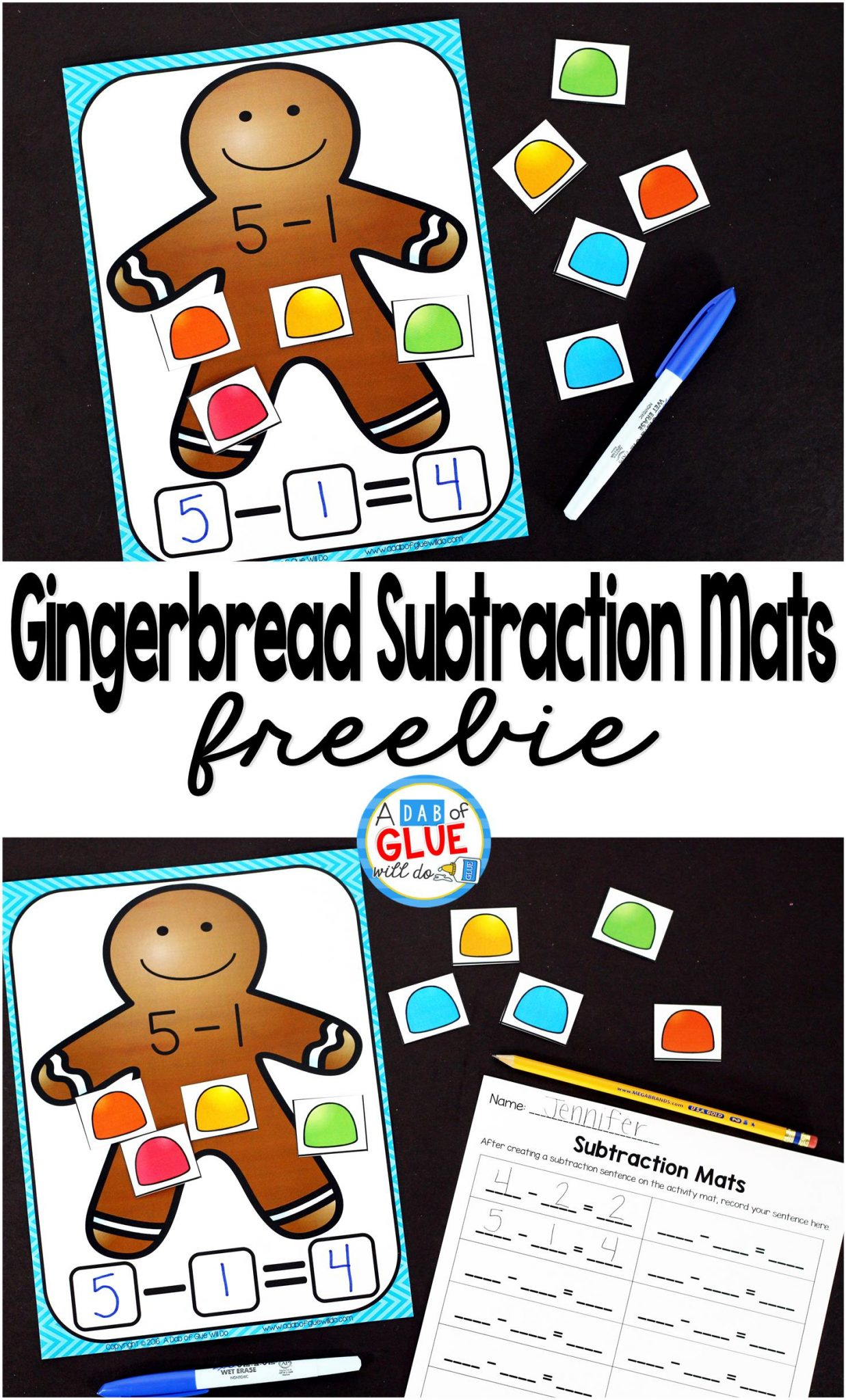 Gingerbread Subtraction Mats - A Dab of Glue Will Do