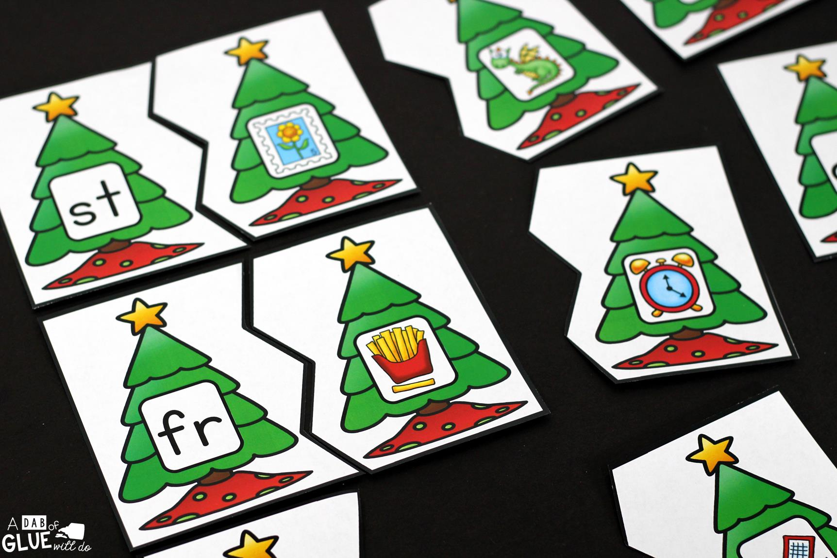 Christmas Tree Blend Printable Puzzles - A Dab of Glue Will Do