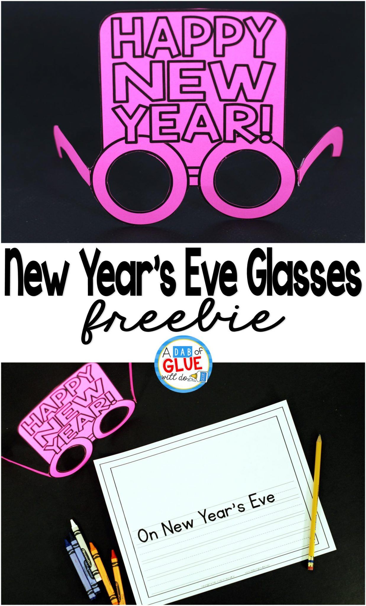 New Year's Eve Glasses and Writing printable is the perfect way to ring in the new year. Whether you are celebrating New Year's Eve or teaching your students about new year's traditions, these free glasses and writing printable will be a great addition.