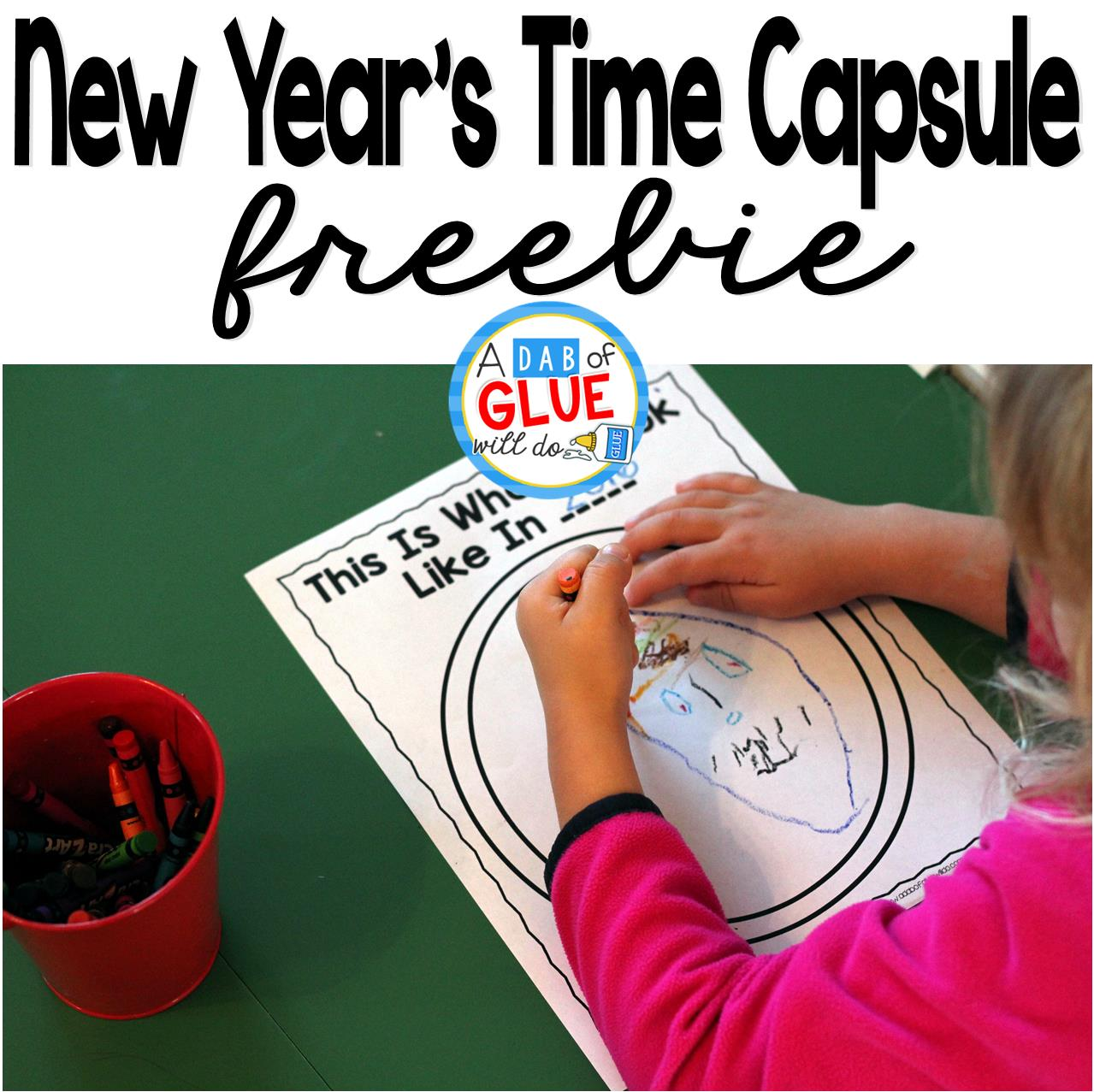 New Year's Time Capsule is a great way for students to reflect and remember where they are at academically and personally.  It is a great keepsake to look back on year after year. This free printable is perfect for preschool, kindergarten, and first grade students.