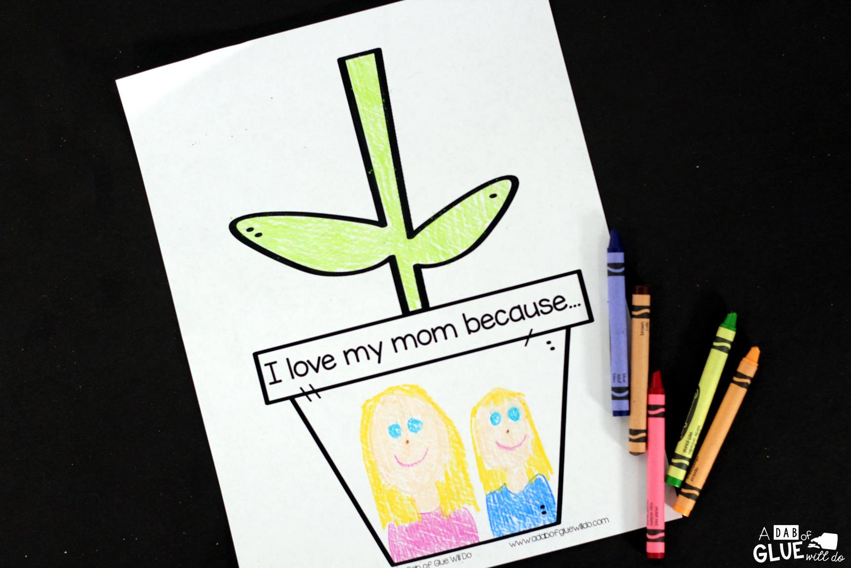 Show your mom love today with Mother's Day flower gift! Easy kids craft for spring and Mom! Use in your lower elementary classrooms from Kindergarten to Fifth Grade. Practice fine motor work, following directions, and flower vocabulary in one great craft for kids.