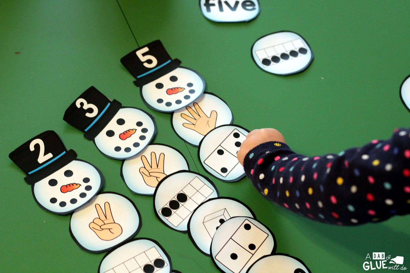 Snowman Number Match Printable - A Dab of Glue Will Do