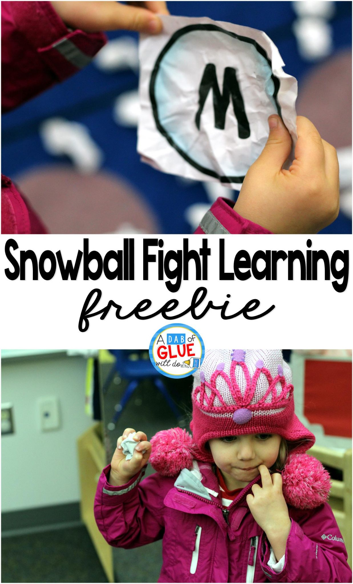 Snowball Fight Learning is a fun, hands-on activity for students to review whatever they are learning in the classroom. This free printable and activity is perfect for preschool, kindergarten, and first grade students.