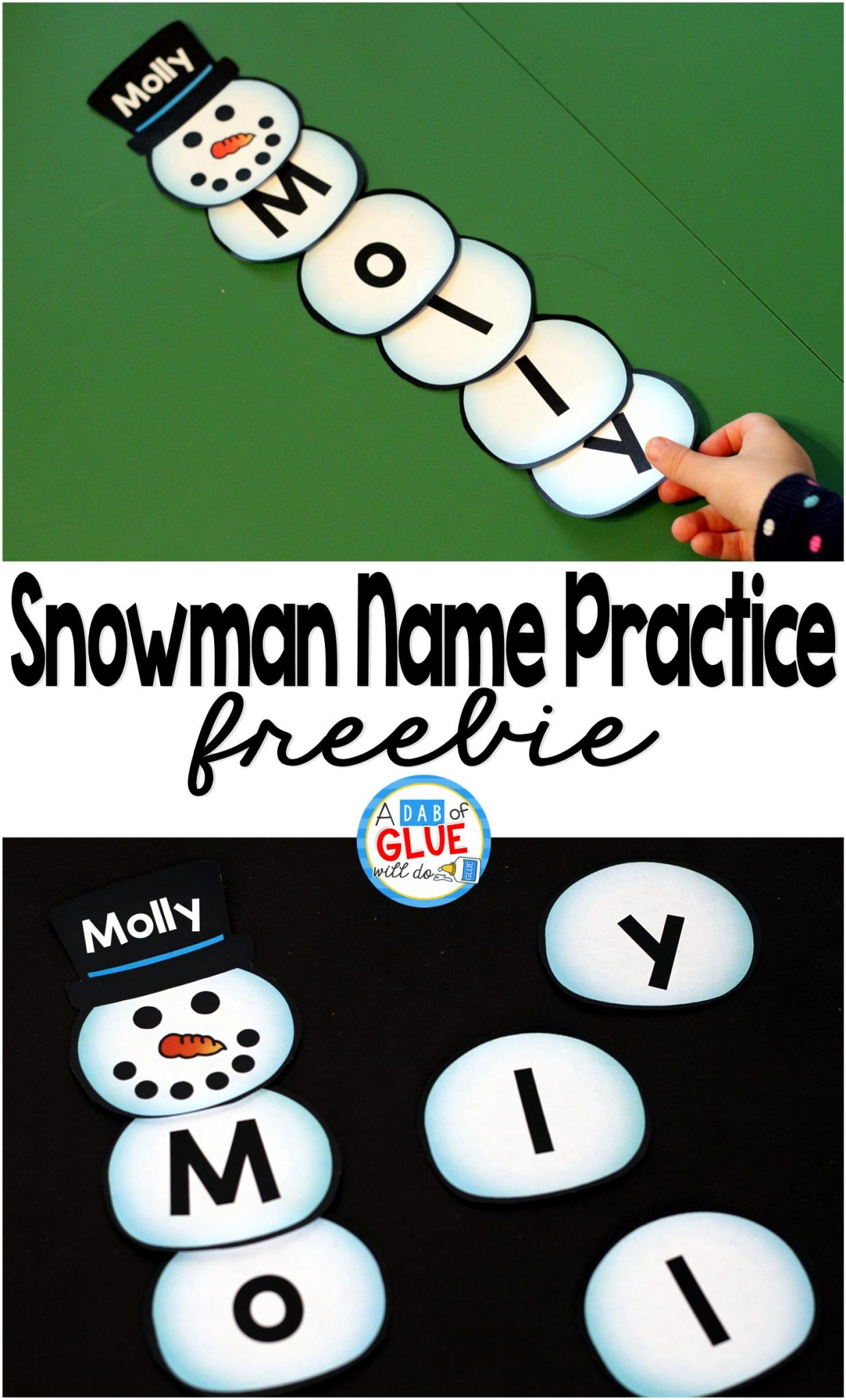 Snowman Names - Name Building Practice Printable - A Dab of Glue Will Do