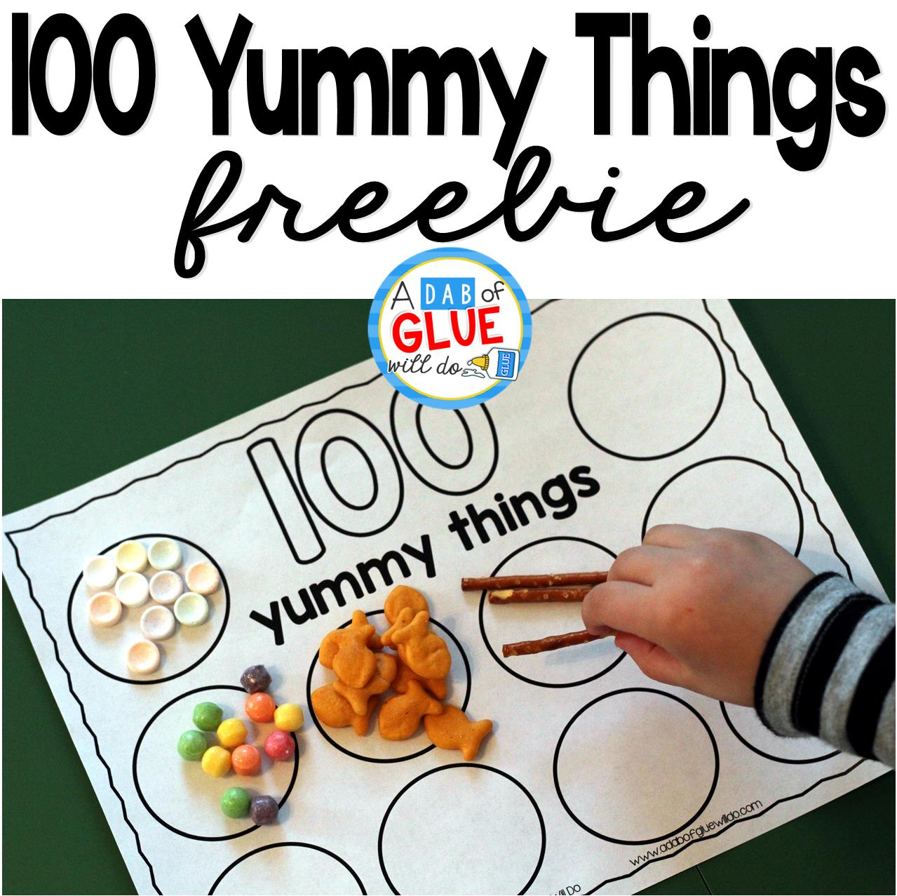 100 Yummy Things is the perfect addition to your 100th day of school celebrations. This free printable will encourage your students to practice counting to 100. It's perfect for preschool, kindergarten, and first grade students.
