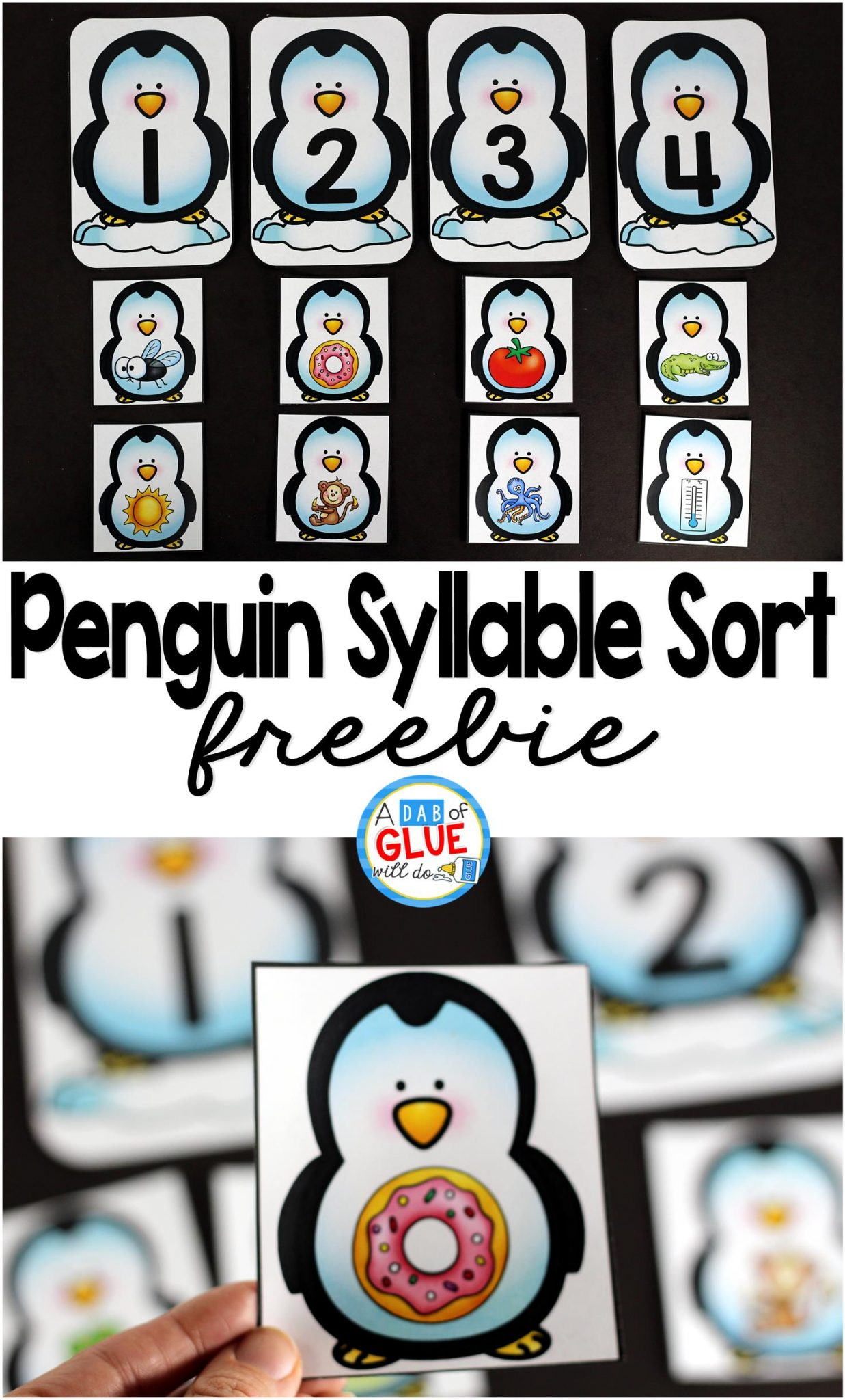 Penguin Syllable Sort Printable