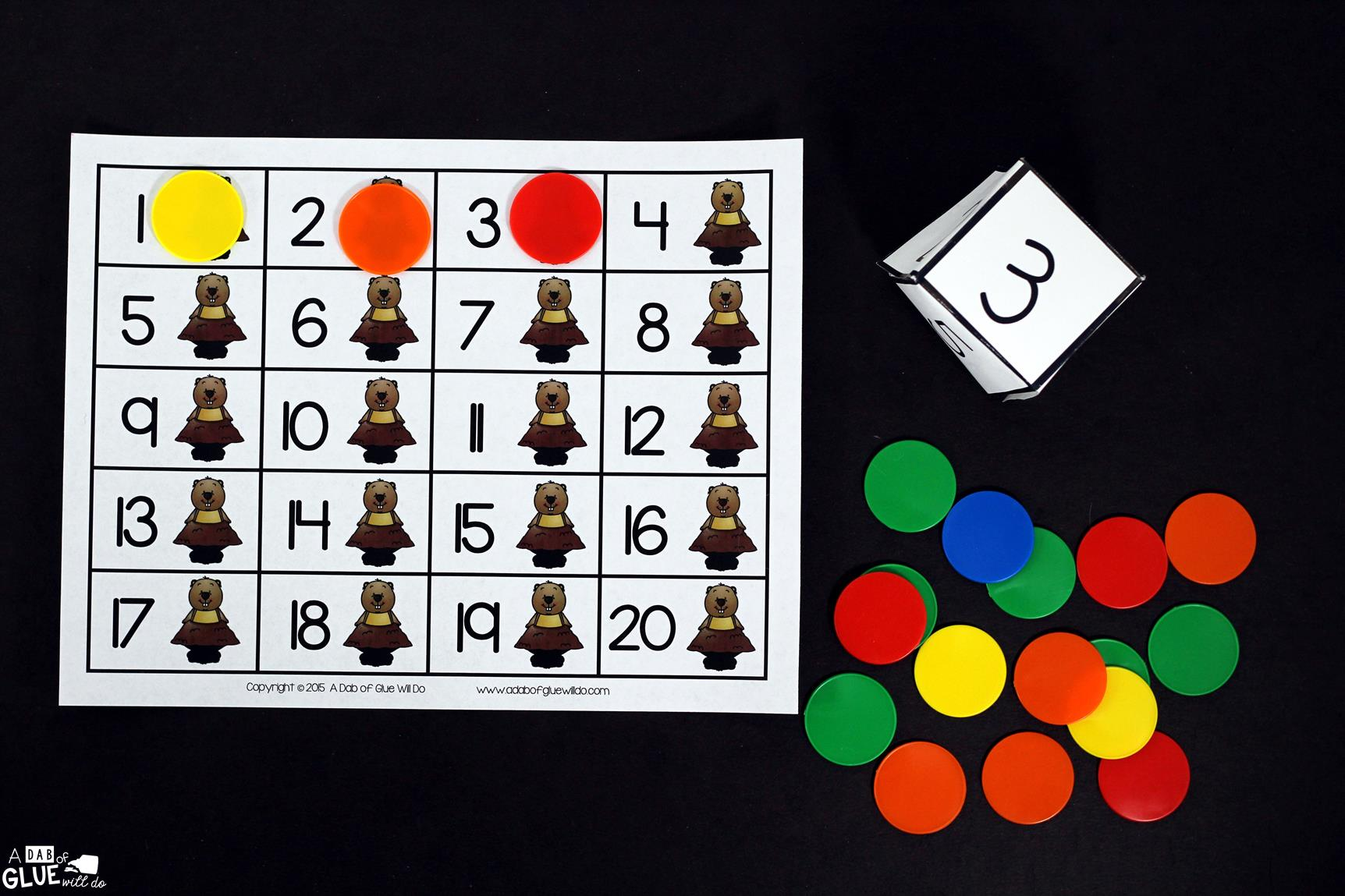 Groundhog First to Twenty Math Game is the perfect addition to your math centers this February. This free printable is great for preschool, kindergarten, and first grade students.