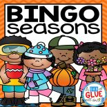 Play Bingo with your elementary age students through the seasons with these a fun season themed game! Perfect for large groups in your classroom or small review groups. Add this to your lesson plans or class party with 30 unique fall, winter, spring, and summer boards!  Teaching cards are also included in this fun game for young children! Black and white options available to save your color ink.