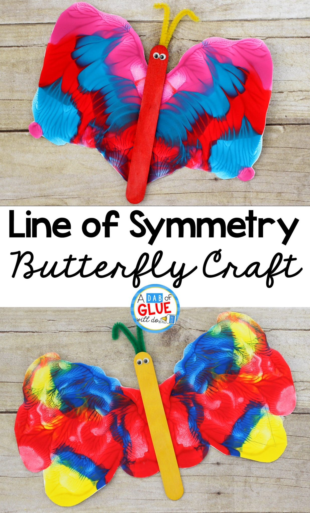 Line of Symmetry Butterfly Craft, Process Art Butterfly Craft, Butterfly Unit Study, Line of Symmetry