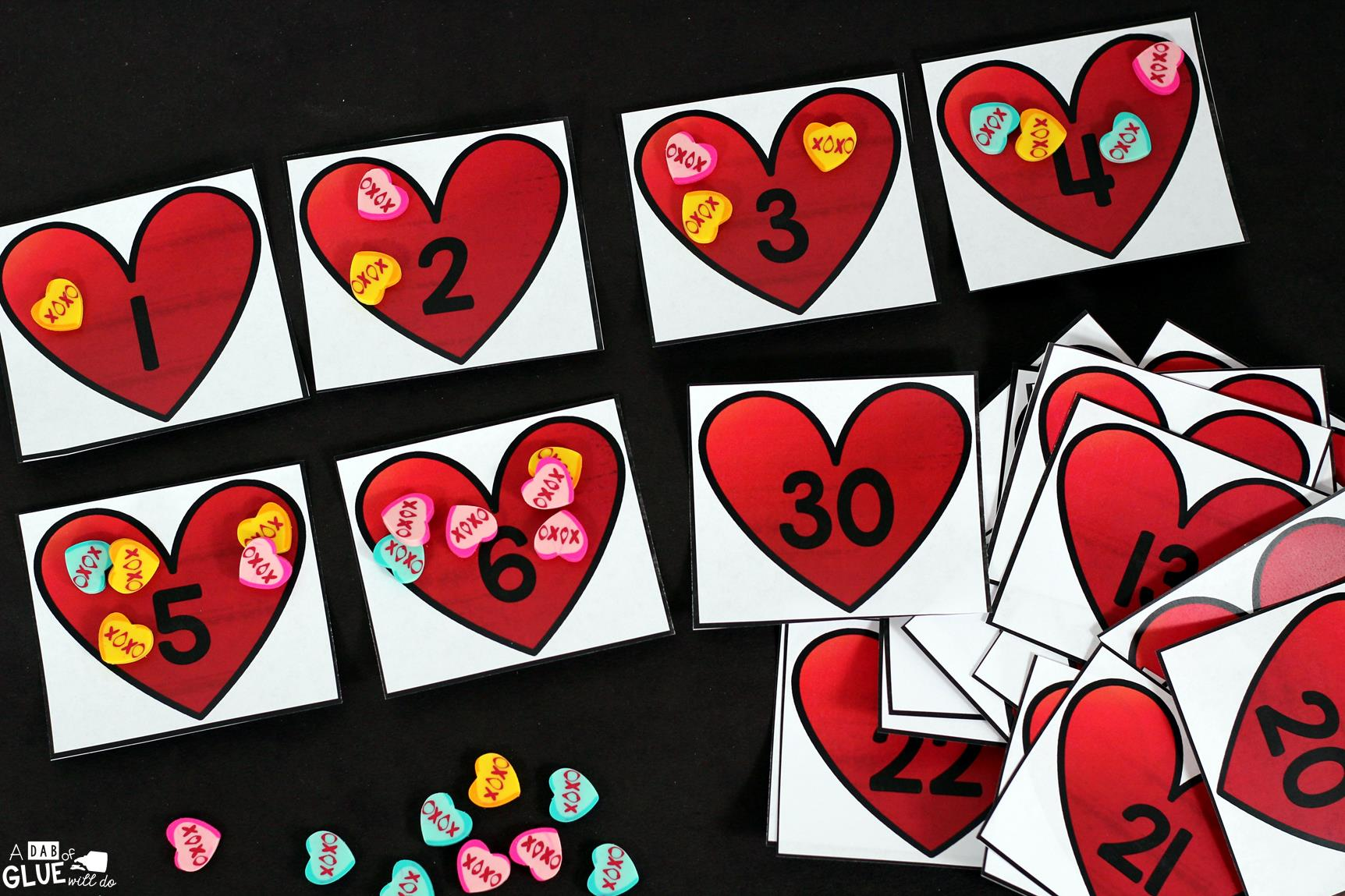 Valentine's Day Skip Counting Math Printable is a fun addition to your math centers. Perfect for math skip counting review! This free printable is perfect for preschool, kindergarten, and first grade students.