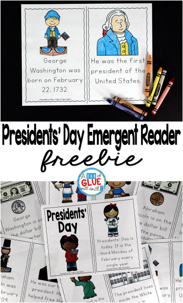 Presidents' Day Emergent Reader is the perfect addition to your social studies lesson plans this February. This free printable is great for preschool, kindergarten, and first grade students.