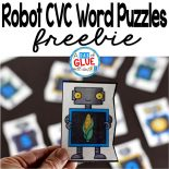 Robot CVC Word Puzzles is the perfect addition to your literacy centers. This free printable is great for preschool, kindergarten and first grade students.