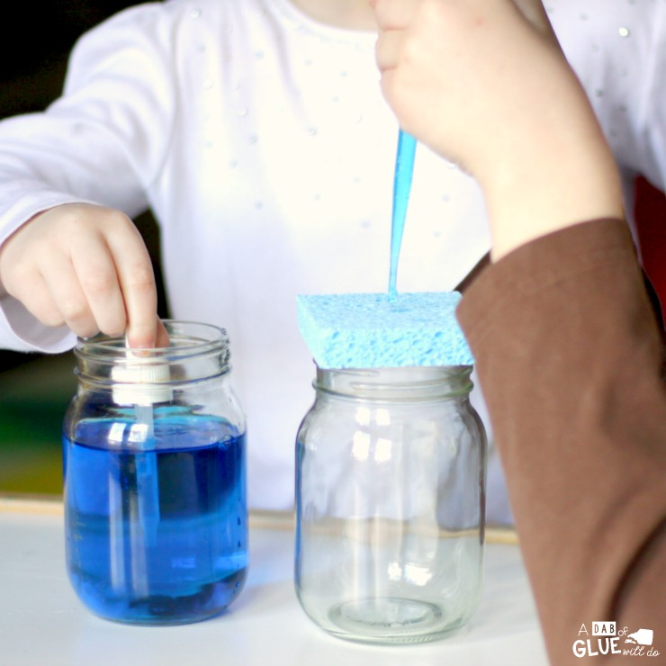 Making a sponge rain cloud in a jar science activity is a fun and easy activity that shows children more about the process of how it rains. This is the perfect hands-on science activity to accompany a weather unit at school or to enrich learning at home!