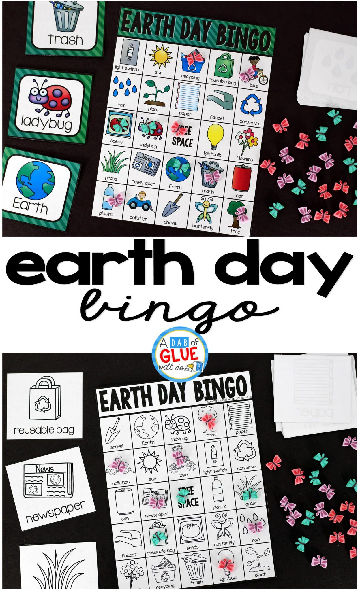Play Bingo with your elementary age students with these fun Bingo Sheets for Earth Day! Perfect for large groups in your classroom or small review groups. Add this to your spring party with 30 unique Earth Day Bingo boards or any celebration with your students! Teaching cards are also included in this fun game for young children! Black and white options available to save your color ink.