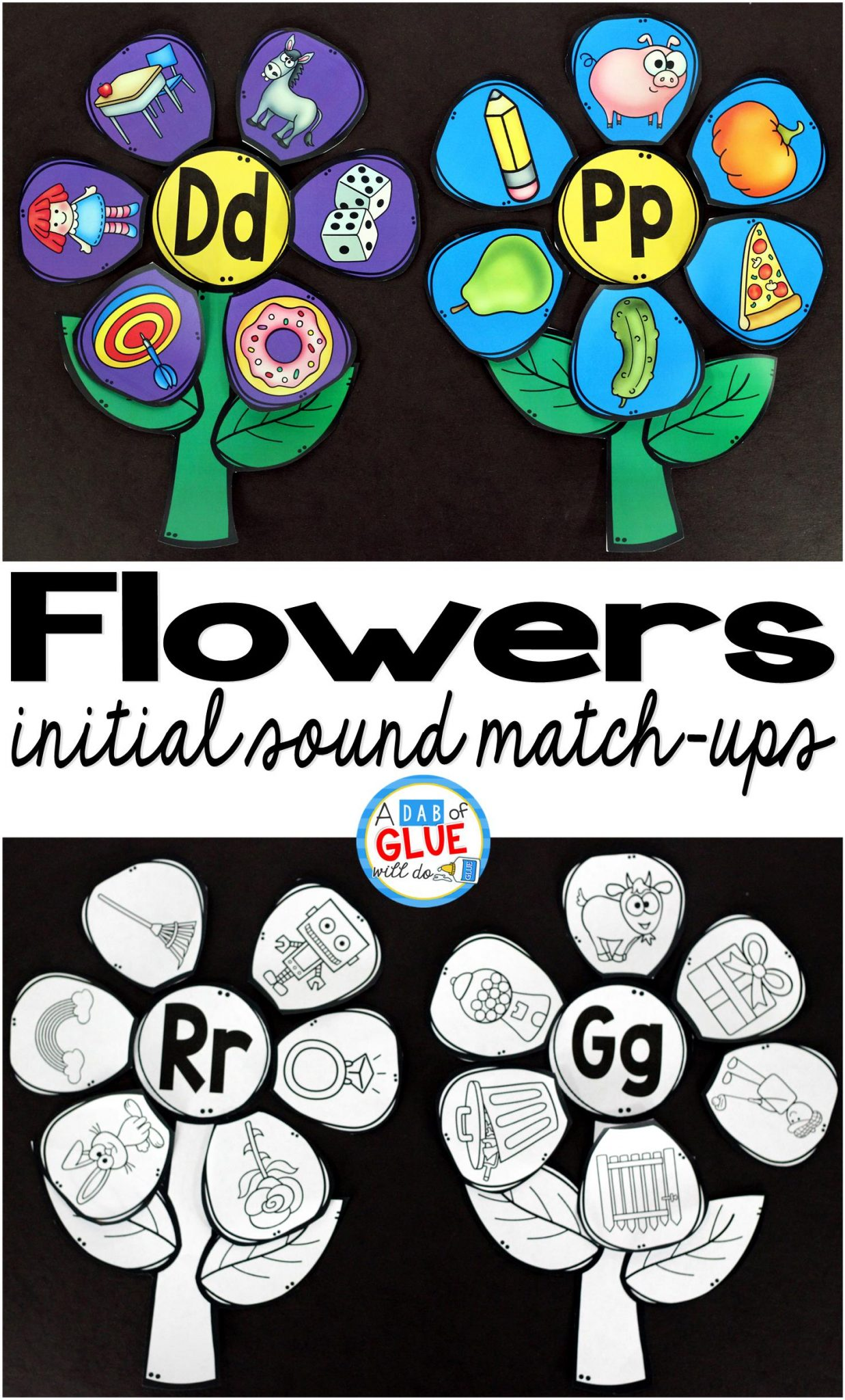 Make learning fun with this themed Flowers Initial Sound Match-Up. Your elementary age students will love this fun spring themed literacy center! Perfect for literacy stations or small review groups. Use in your Preschool, Kindergarten, and First Grade classrooms. Black and white options available to save your color ink.