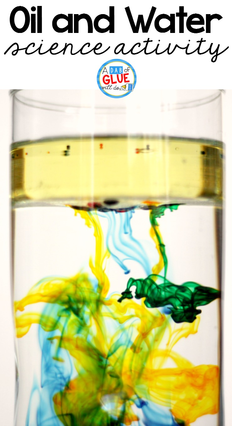 Kids in preschool, kindergarten, and first grade learn simple and fundamental science concepts from performing this oil and water science activity.