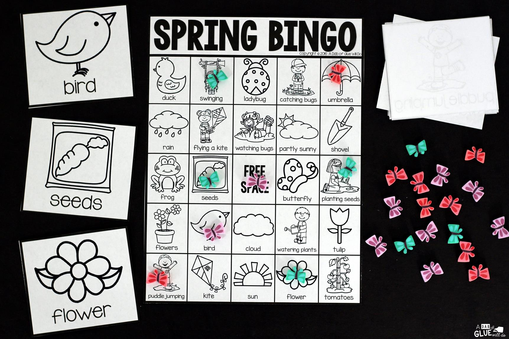 Play Bingo with your elementary age students for a fun spring themed game! Perfect for large groups in your classroom or small review groups. Add this to your spring lesson plans or spring class party with 30 unique spring Bingo boards! Teaching cards are also included in this fun game for young children! Black and white options available to save your color ink.