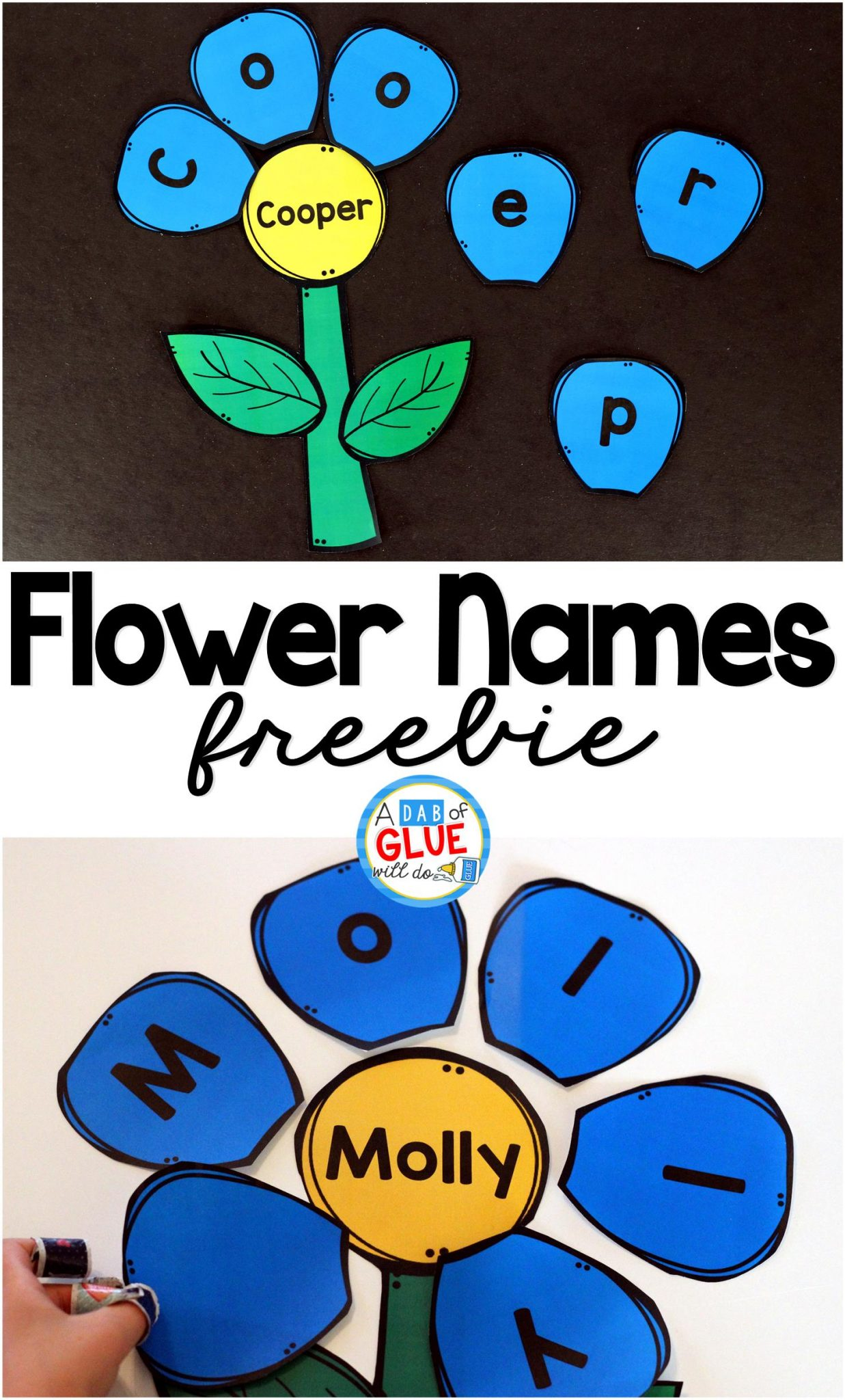 Flower Names – Name Building Practice Printable